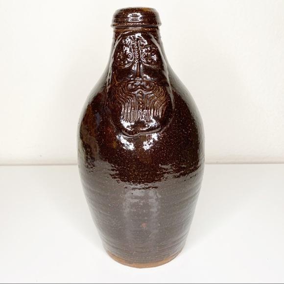Vintage Beardman Jug Brown Ceramic Bartmann